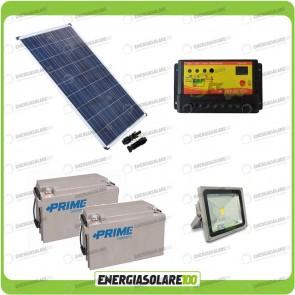 Kit illuminazione esterni pannello solare 80W con faro LED 30W autonomia 8 ore e 2 batterie da 38Ah (da collegare in parallelo)