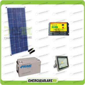 Kit illuminazione esterni pannello solare 150W con faro LED 30W autonomia 16 ore batterie 150Ah deep cycle