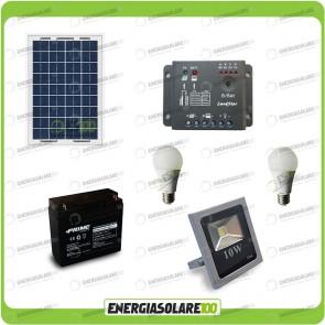 Kit fotovoltaico per l'illuminazione esterna e interna con faro da LED 10W e due lampadine LED 7W pannello fotovoltaico 20W autonomia 2 ore
