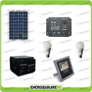 Kit fotovoltaico per l'illuminazione esterna e interna con faro da LED 10W e due lampadine LED 7W pannello fotovoltaico 30W autonomia 4 ore