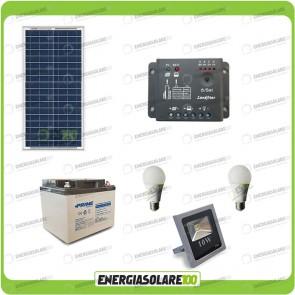 Kit fotovoltaico per l'illuminazione esterna e interna con faro da LED 10W e due lampadine LED 7W pannello fotovoltaico 30W autonomia 5 ore