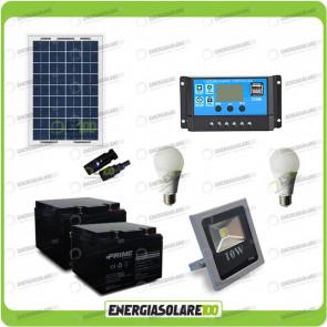 Kit fotovoltaico per l'illuminazione esterna e interna con faro da LED 10W e due lampadine LED 7W pannello fotovoltaico 50W autonomia 8 ore