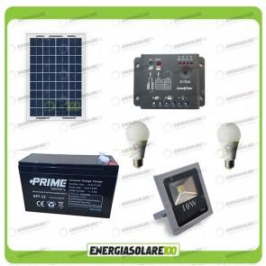 Kit fotovoltaico per l'illuminazione esterna e interna con faro da LED 10W e due lampadine LED 7W pannello fotovoltaico 10W autonomia 1 ora