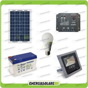 Kit fotovoltaico per l'illuminazione esterna e interna con faro da LED 10W e lampadina LED 7W pannello fotovoltaico 10W autonomia 1 ora