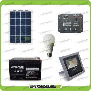 Kit fotovoltaico per l'illuminazione esterna e interna con faro da LED 10W e lampadina LED 7W pannello fotovoltaico 10W autonomia 2 ore