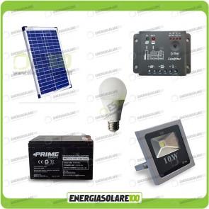 Kit fotovoltaico per l'illuminazione esterna e interna con faro da LED 10W e lampadina LED 7W pannello fotovoltaico 20W autonomia 3 ore