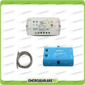 Kit regolatore di carica EpSolar LS1024B Serie LandStar B 10A 12/24V con adattatore WiFi per monitoraggio tramite APP