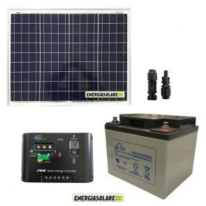Kit solare 12V con pannello fotovoltaico 50W, regolatore di carica Epsolar e batteria GEL 38Ah Deep cycle (Set Kit)