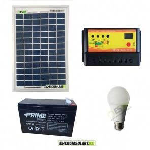 Kit illuminazione solare per 5 ore per stalle o baite con una lampada