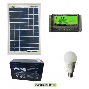 Kit illuminazione solare per 5 ore per stalle o baite con una lampada pannello 10W serie EJ