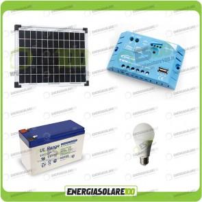 Kit illuminazione solare 10W EJ per 5 ore per stalle o baite con una lampada 7W 12V