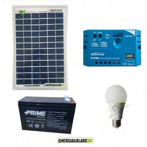 Kit illuminazione solare 10W per 5 ore per stalle o baite con una lampada 7W 12V