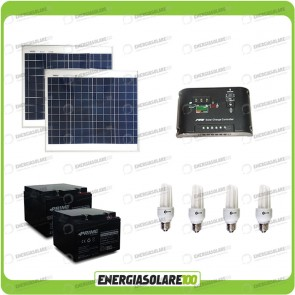 Kit solare illuminazione stalla, casa di campagna 60W 24V 6 lampade fluorescenti 7W 5 ore al giorno