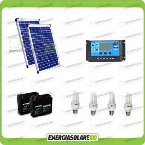 Kit solare illuminazione stalla, casa di campagna 40W 24V 4 lampade fluorescenti 7W 5 ore al giorno regolatore di carica NV