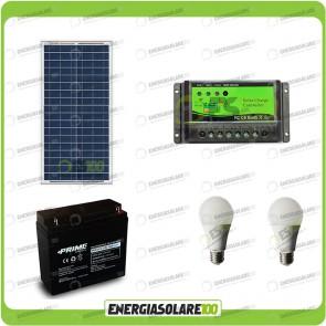 Kit illuminazione stalla baita pannello solare 30W per 5 ore con 2 lampadine 7W LED