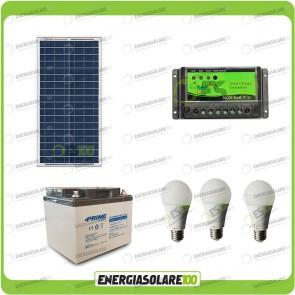 Kit illuminazione stalla baita pannello solare 30W per 5 ore con 3 lampadine 7W LED