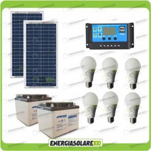 Kit illuminazione solare 60W 24V per 5 ore per stalle o baite con 6 lampade LED