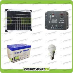 Kit illuminazione interni pannello solare 10W EJ lampada LED 7W 12V max 6 ore batteria UC