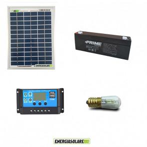 Kit Solare Votivo 5W 12V 1 lampada LED 0.3W con crepuscolare funzione Tramonto/Alba