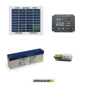 Kit Solare Votivo 5W 12V 1 lampada LED 0.3W crepuscolare funzione Tramonto/Alba