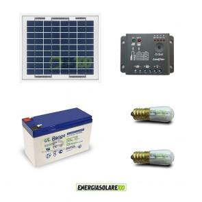 Kit Solare Votivo 5W 12V 2 lampade LED 0.3W con crepuscolare funzione Tramonto/Alba ep5