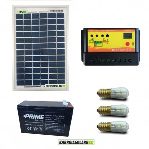 Kit Solare Votivo 5W 12V 3 lampada LED 0.3W con crepuscolare funzione Tramonto/Alba