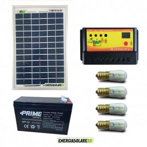 Kit Solare fotovotlaico illuminazione Votivo 10W 12V 4 lampade LED 0.3W con crepuscolare funzione Tramonto/Alba