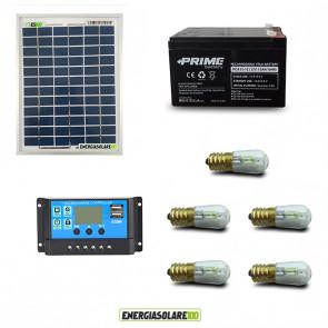 Kit Solare Votivo 10W 12V 5 lampada LED 0.3W con crepuscolare funzione Tramonto/Alba