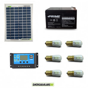 Kit Solare Votivo 10W 12V 6 lampada LED 0.3W con crepuscolare funzione Tramonto/Alba