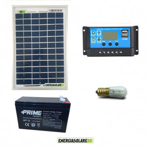 Kit Solare Votivo 5W 12V 1 lampada LED 0.3W sempre accesa 24h al giorno