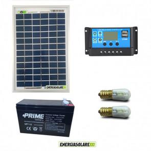 Kit Solare Votivo 5W 12V 2 lampada LED 0.3W sempre accesa 24h al giorno