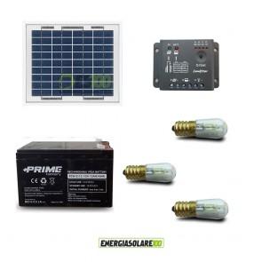 Kit Solare Votivo 10W 12V 3 lampada LED 0.3W sempre accesa 24h al giorno