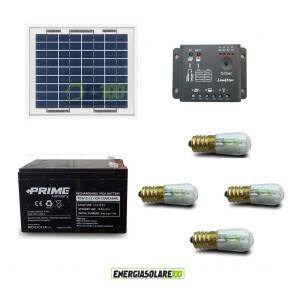 Kit Solare Votivo 10W 12V 4 lampada LED 0.3W sempre accesa 24h al giorno regolatore Epsolar