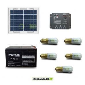 Kit Solare Votivo fotovoltaico 20W 12V 5 lampada LED 0.3W sempre accesa 24h al giorno