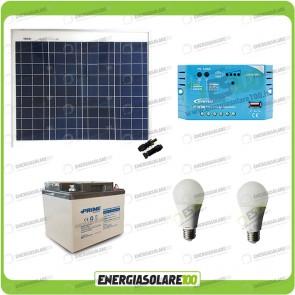 Kit Solare Fotovoltaico isolati dalla Civiltà 50W 12V x Luci e Cellulari Tablet Off-grid
