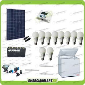 Kit Solare Fotovoltaico isolati dalla Civiltà 250W x Luci Frigo incluso Pompa