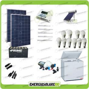 Kit Solare Fotovoltaico isolati dalla Civiltà 500W x Luci Frigo incluso Pompa Acqua Calda