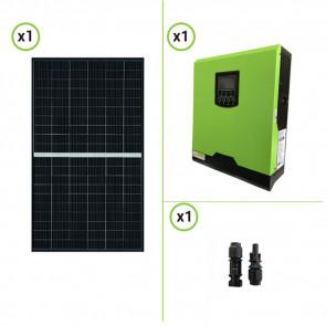 impianto solare, impianto fotovoltaico, pannello solare monocristallino 300W, inverter ibrido 3KW 24V, regolatore di carica PWM 50A
