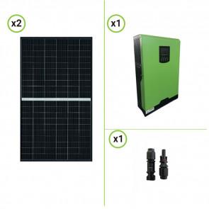 Impianto solare fotovoltaico 375W 24V pannello monocristallino inverter ibrido onda pura 3KW PWM 50A