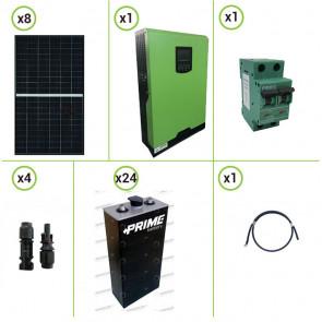 Impianto solare fotovoltaico 750W 48V pannello monocristallino inverter onda pura Edison50 5KW PWM 50A batterie piastra tubolare 210Ah
