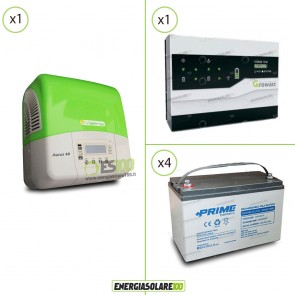 Kit Solare Fotovoltaico Inverter 3Kw + Dispositivo Storage + Batteria AGM 4.8Kwh