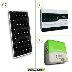Kit Impianto Solare 10 Pannelli 300W + Inverter 3Kw + Regolatore di Accumulo Storage