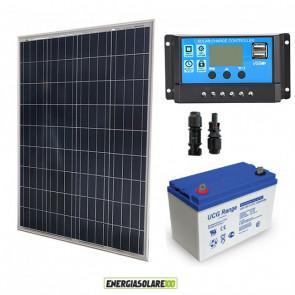 Kit fotovoltaico con pannello da 100W 12V policristallino Batteria AGM 100Ah Regolatore PWM 10A Serie NV