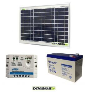 Kit solare fotovoltaico con pannello 10W 12V Regolatore PWM 5A Batteria AGM 7Ah