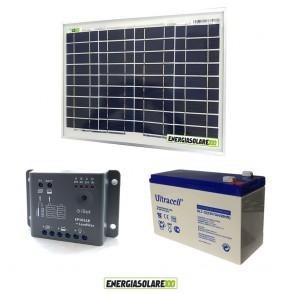 Kit Starter Plus NX 10W 12V Regolatore PWM 5A Epsolar Batteria AGM 7Ah