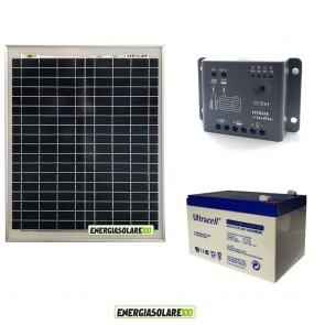 Kit Starter Plus pannello fotovoltaico 20W 12V Regolatore PWM 5A Epsolar Batteria Gel 12Ah