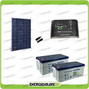 Kit Starter Plus Pannello Solare HF 270W 24V Batteria GEL 200Ah Regolatore di Carica 10A Epsolar