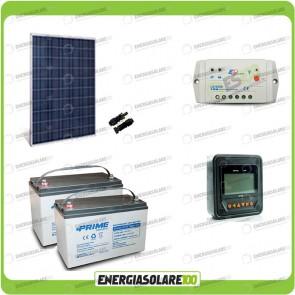 Kit Starter Plus Pannello Solare HF 250W 24V Batteria AGM 100Ah Regolatore PWM 10A LS1024B e Display MT-50