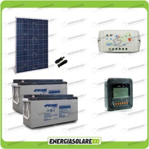 Kit Starter Plus Pannello Solare HF 250W 24V Batteria AGM 150Ah Regolatore PWM 10A LS1024B e Display MT-50