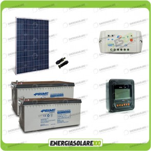 Kit Starter Plus Pannello Solare HF 250W 24V Batteria AGM 200Ah Regolatore PWM 10A LS1024B e Display MT-50